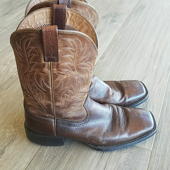 cd3f8d4f276 Ariat square toe brown leather boots